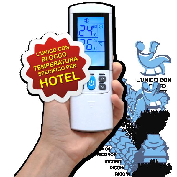 AerVirdis, l'unico telecomando studiato appositamente per Hotel con funzione di blocco delle temperature. Decidi tu la temperatura minima e massima entro la quale i tuoi ospiti posso usare il condizionatore.